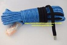 Cuerda de cabrestante sintética azul de 3/8 pulgadas x 100 pies, Cable de cabrestante ATV, cuerda de remolque para coche, cuerda de cabrestante Kevlar, cuerda para todoterreno