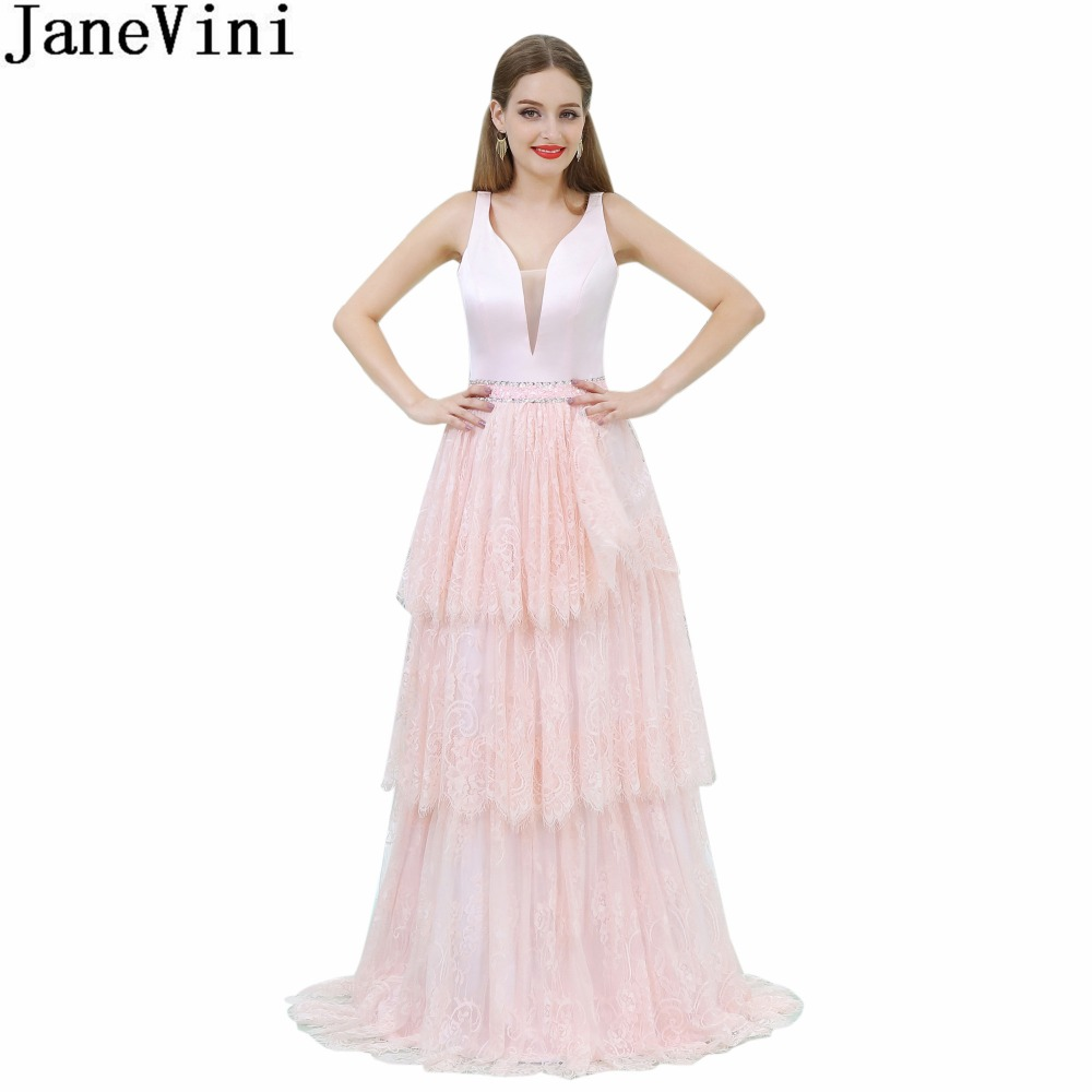 JaneVini 2018 Light Pink Beaded Women Formal Gowns Deep V-Neck Lace Sequins   Bridesmaid     Dresses   Long Sleeveless Tiered Prom   Dress