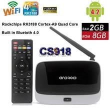 CS918 Android 4.4 TV BOX RK3188 Quad Core 2GB Q7 Smart Mini PC Google IPTV (MK888/K-R42) 2G 8G WIFI Airplay DLNA Miracast XBMC