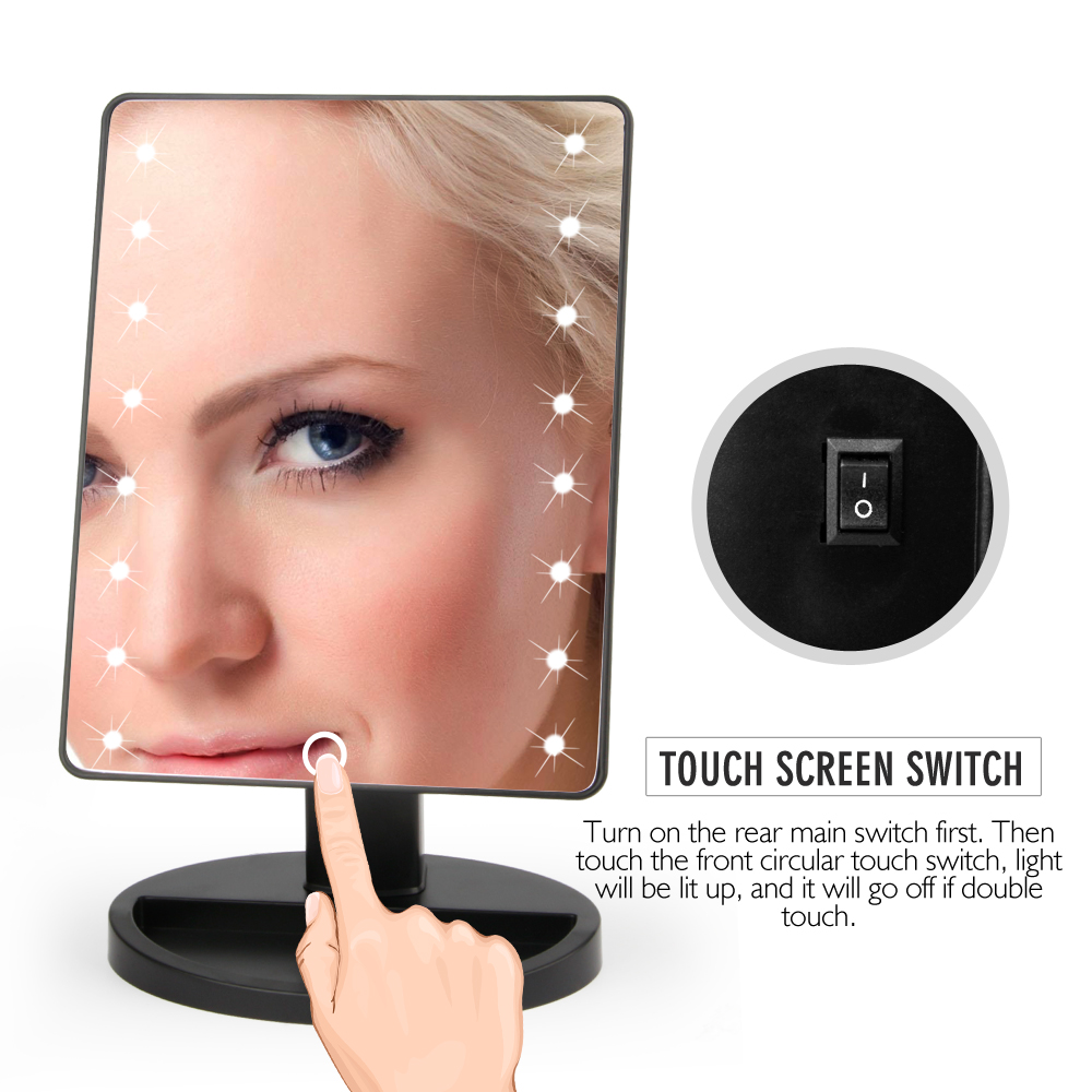 LED Touch Screen Bathroom Mirror Lights Professional Vanity Mirror Luminous Beauty Cosmetic Lamp 16/22 LED Adjustable Support