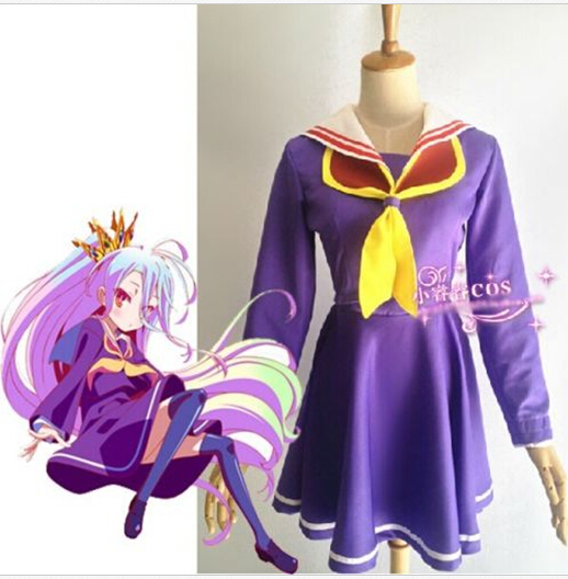 Anime NO GAME NO LIFE Sister Siro Cosplay Uniform Party Dress Costume Fashion S-2XL NEW