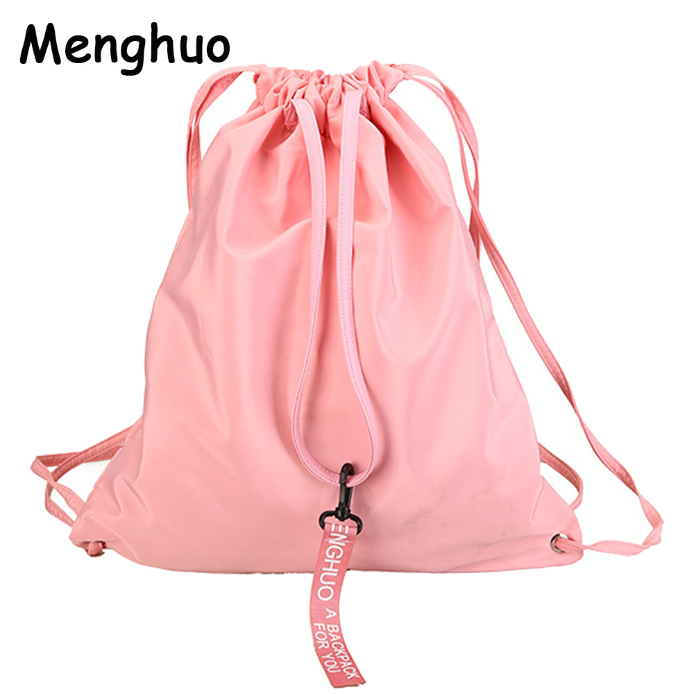 Menghuo Hot Women Drawstring Backpack Newest Ribbon Bag Fresh College Students School Bagpack Girls Mochila Feminina Sack Bags fashion new women students lovely canvas backpack college small cartoon print sathel multifunction travel bags mochila feminina