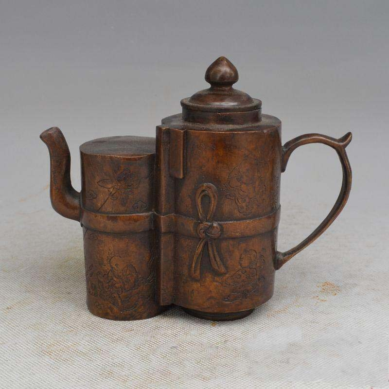 China Purple copper Double bile Teapot Flowers Bamboo Handle Wine Tea Pot FlagonChina Purple copper Double bile Teapot Flowers Bamboo Handle Wine Tea Pot Flagon