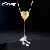 MoBuy Yellow Gold Heart 100 925 Sterling Silver Wiredrawing Necklace Pendant Fine Jewelry For Women Anniversary