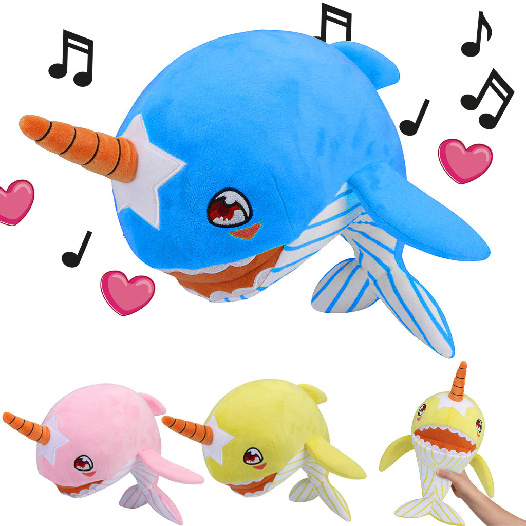 Baby Shark Puzzle Decompression Music Toy Plush Stuffed Narwhal Music Sound Toy Baby Three Colors Whale Simulation Plush Toys Toys & Hobbies Stuffed & Plush Animals