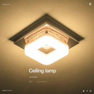 Image 2 - Plafonnier carré en acier inoxydable LED, design moderne, luminaire de plafond réglable, lumière blanche chaude, idéal pour une petite entrée