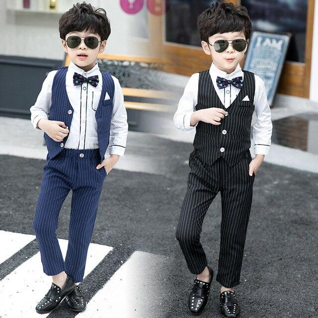 Dark Blueblack Toddler Boy Prom Suit Striped Vest Shirt Pant 3parts