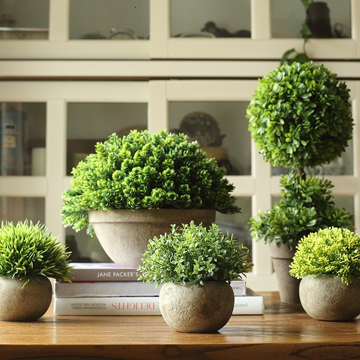 Buy simulation tree bonsai coffee green for Decoration table mariage