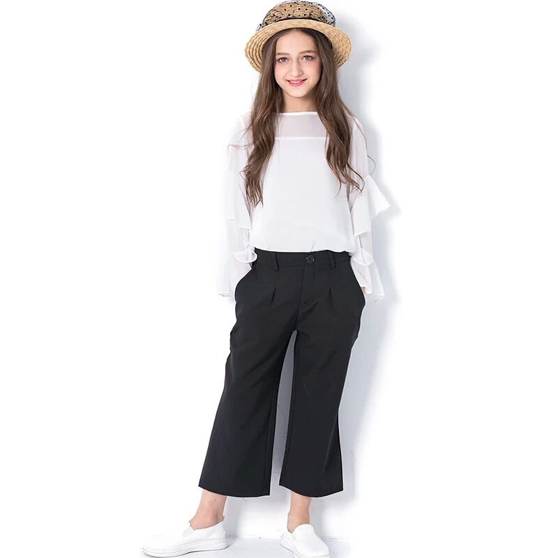 Girls Clothing Sets fashion Kids white Chiffon Tops+ Black Pants 2pcs Suit children's clothes for Girl Costumes 6 8 10 12 14Year