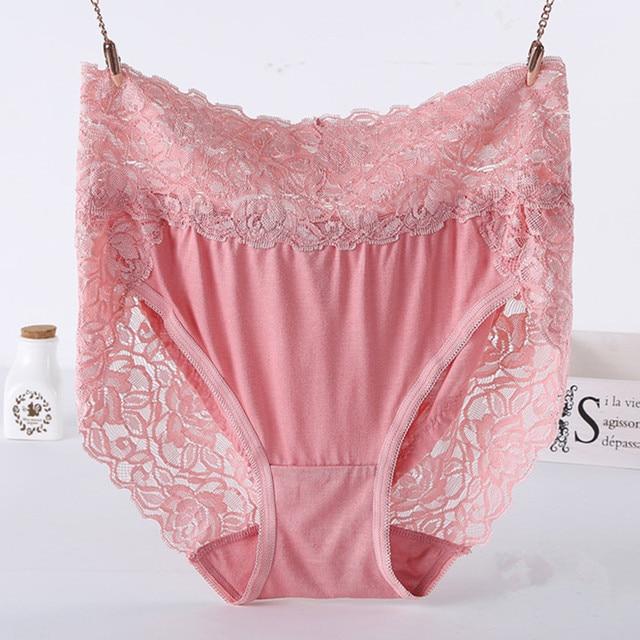 06b3dd0ce69f 5PCS Pack Hipsters Women Panties Modal Briefs Sex Lace Trim High Waist Plus Size  Ladies Breathable Underwear for Female