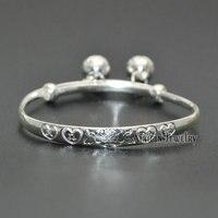 1 st 925 Zilveren Sieraden Chinese Stijl Pasgeboren Baby Gift Bell Charms Bangles Mooie Woorden Gesneden