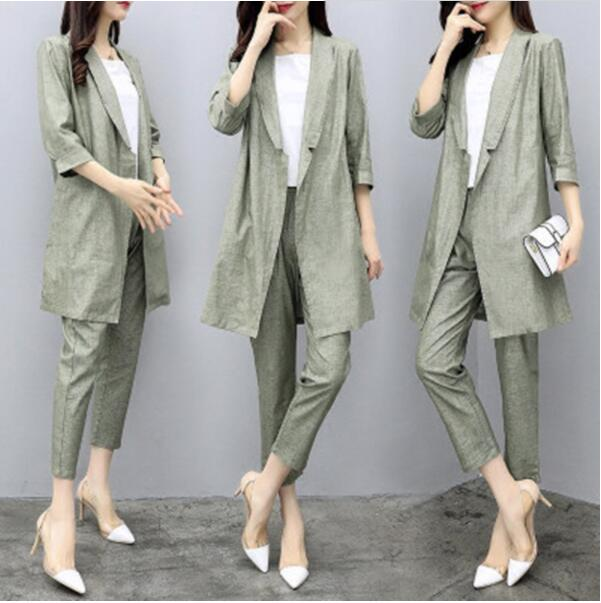 2019 New Spring Autumn Women 2 Pieces Sets Suits Cotton Linen Blazers Coat Casual Ladies Pants Sets