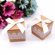 50Pcs/lot Lace Candy Box Vintage Kraft Paper With Satin Bow Ribbon Gift Boxes Chic Christmas Valentine's Day Wedding Decoration(China)