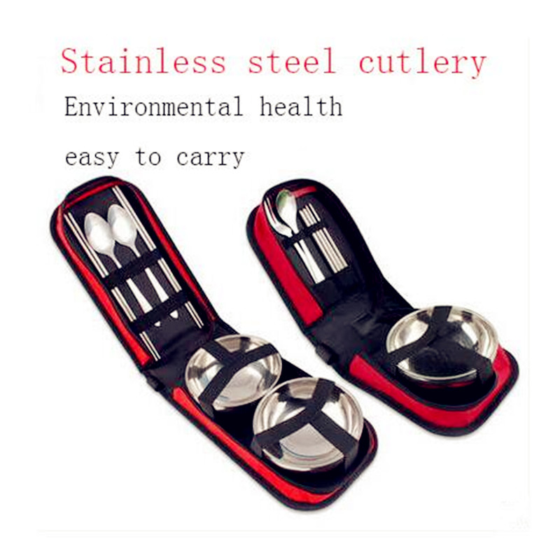 Travel Supplies Portable Travel Folding Picnic Bag Barbecue Picnic Cutlery Set Outdoor Stainless Steel Tableware