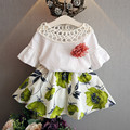 Meninas roupas de verão 2016 escavar parte superior da camisa da menina da criança roupas flores blusa floral + saia crianças conjunto de roupas crianças