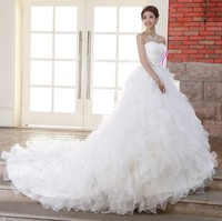 2019 Stock Corset Organza Dresses for Wedding White Robe de Mariee Princess Organza Beaded Ruffled Plus Size Cheap Bridal Gowns