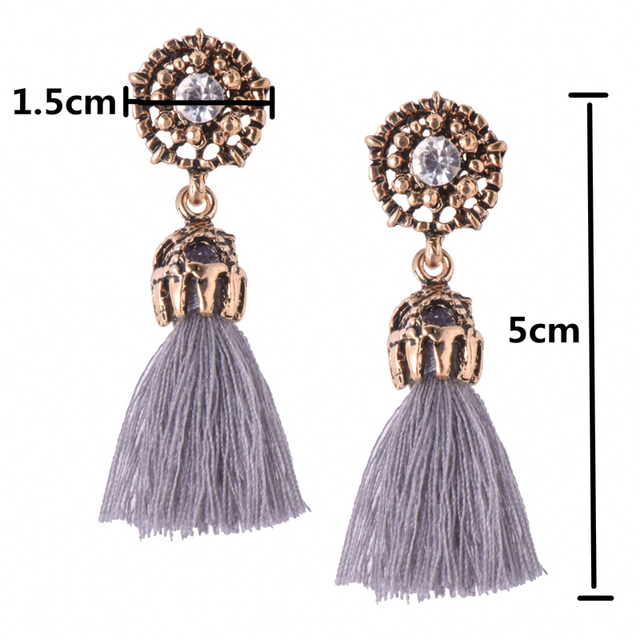 E0187 Vintage Crystal Earring Exquisite Handmade Red Black Gray Tassel Earring For Women Fashion Wedding Party Jewelry Wholesale 1