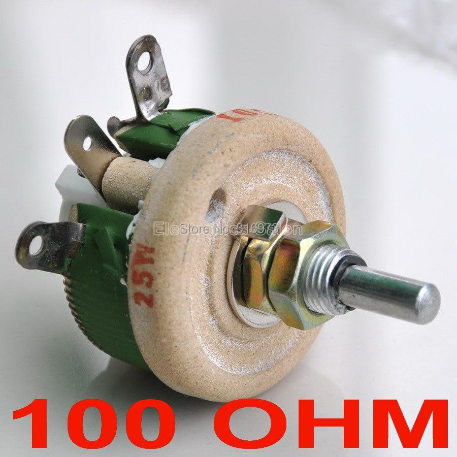 10 pcs lot 25W 100 OHM High Power Wirewound Potentiometer Rheostat Variable Resistor 25 Watts