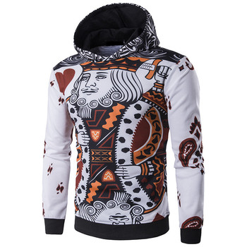 New Arrival Men Hoodies 3D Playing Cards Print Poker King Sweatshirts Hip Hop Hooded Tracksuit Fashion Pullover Full Printing hoodie