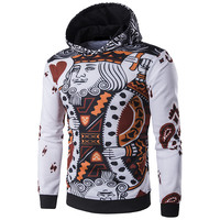 New Arrival Men Hoodies 3D Playing Cards Print Poker King Sweatshirts Hip Hop Hooded Tracksuit Fashion
