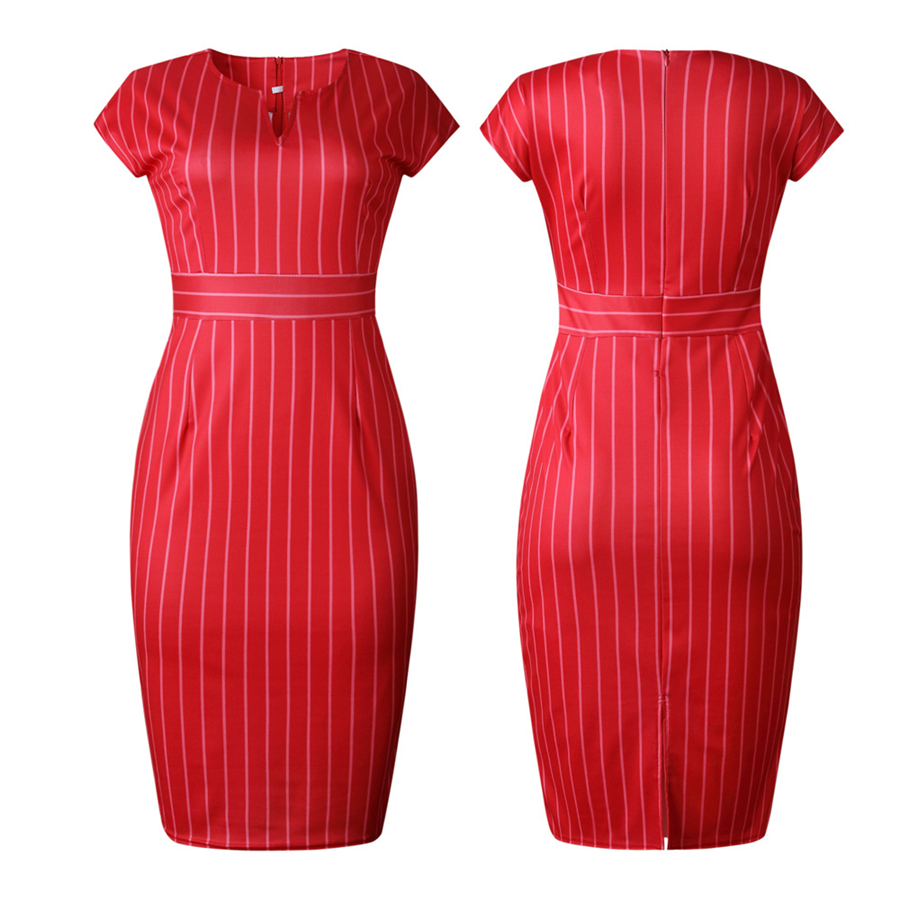 Commuter Red Striped Stitching V Neck Back Split Large Size Dress