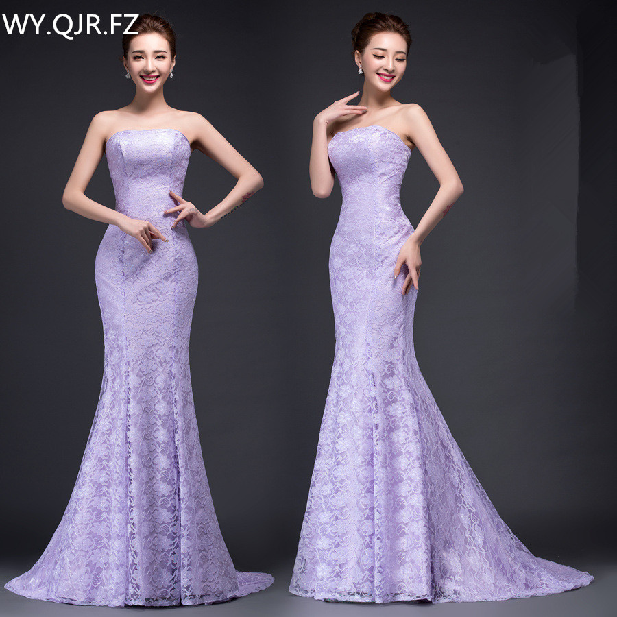DM2670TWZ Spring summer new long Dresses purple red and white lace up tail sexy bride toast