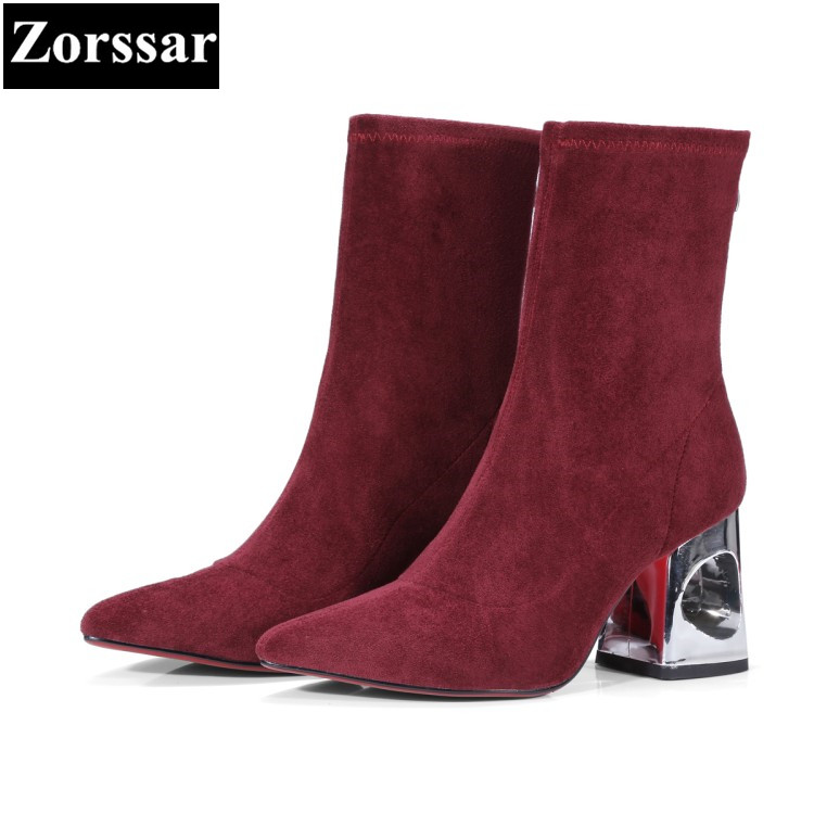 {Zorssar} New fashion Flock womens boots Solid Slip on High heels ankle Stretch boots autumn winter women shoes bottine femme slip on winter boots stretch lycra
