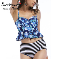 Burvogue High Waist Bikini Women Sexy Swimsuit Floral Reversible Swimwear New Summer Push Up Bathing Suit