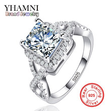 YHAMNI Big Sale Original Sterling Silver Jewelry Rings for Women Inlay Zircon 7mm CZ Diamant Wedding Engagement Rings AR065(China)