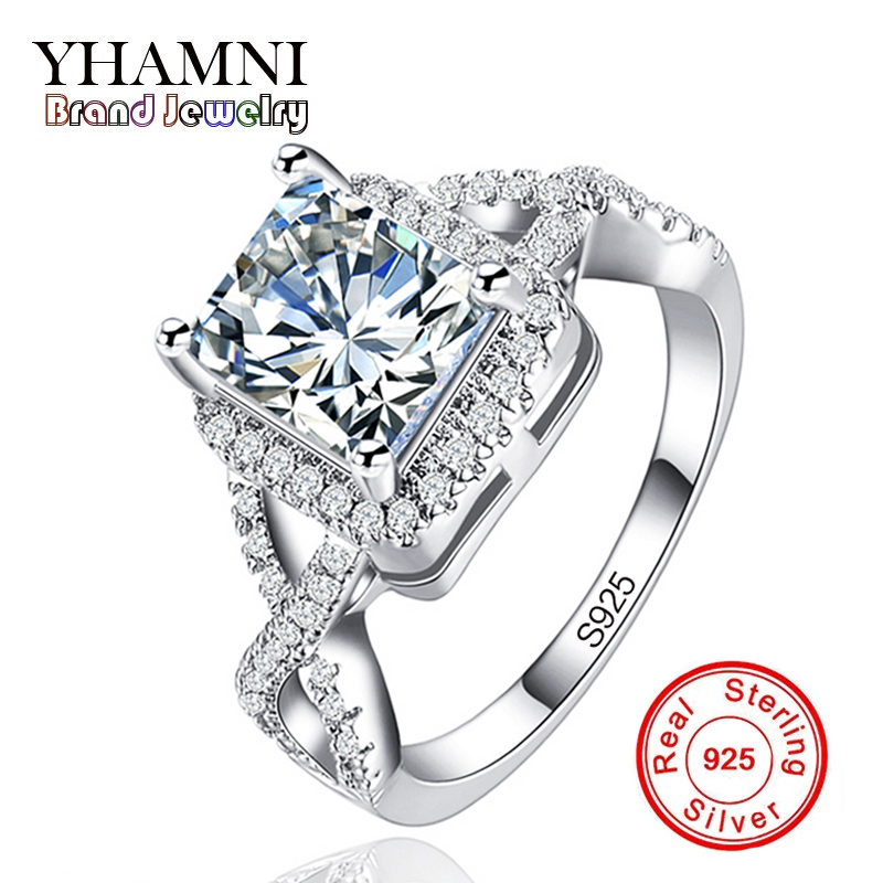 YHAMNI Big Sale Original Sterling Silver Jewelry Rings for Women Inlay Zircon 7mm CZ Diamant Wedding Engagement Rings AR065YHAMNI Big Sale Original Sterling Silver Jewelry Rings for Women Inlay Zircon 7mm CZ Diamant Wedding Engagement Rings AR065
