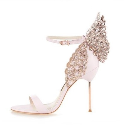 Elegant Metallic Leather Butterfly Wing Sandal High Heels Rose Gold Pin-buckle Metal Stiletto Heel Sandal Glitter Laser-cut Shoe lace butterfly flowers laser cut white bow wedding invitations printing blank elegant invitation card kit casamento convite