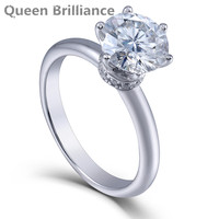 Królowa Brilliance H Kolor 2ct Moissanite Lab Grown Diament Engagement Wedding Ring Platinum Galwanicznie 925 Srebro Kobiety Pierścień