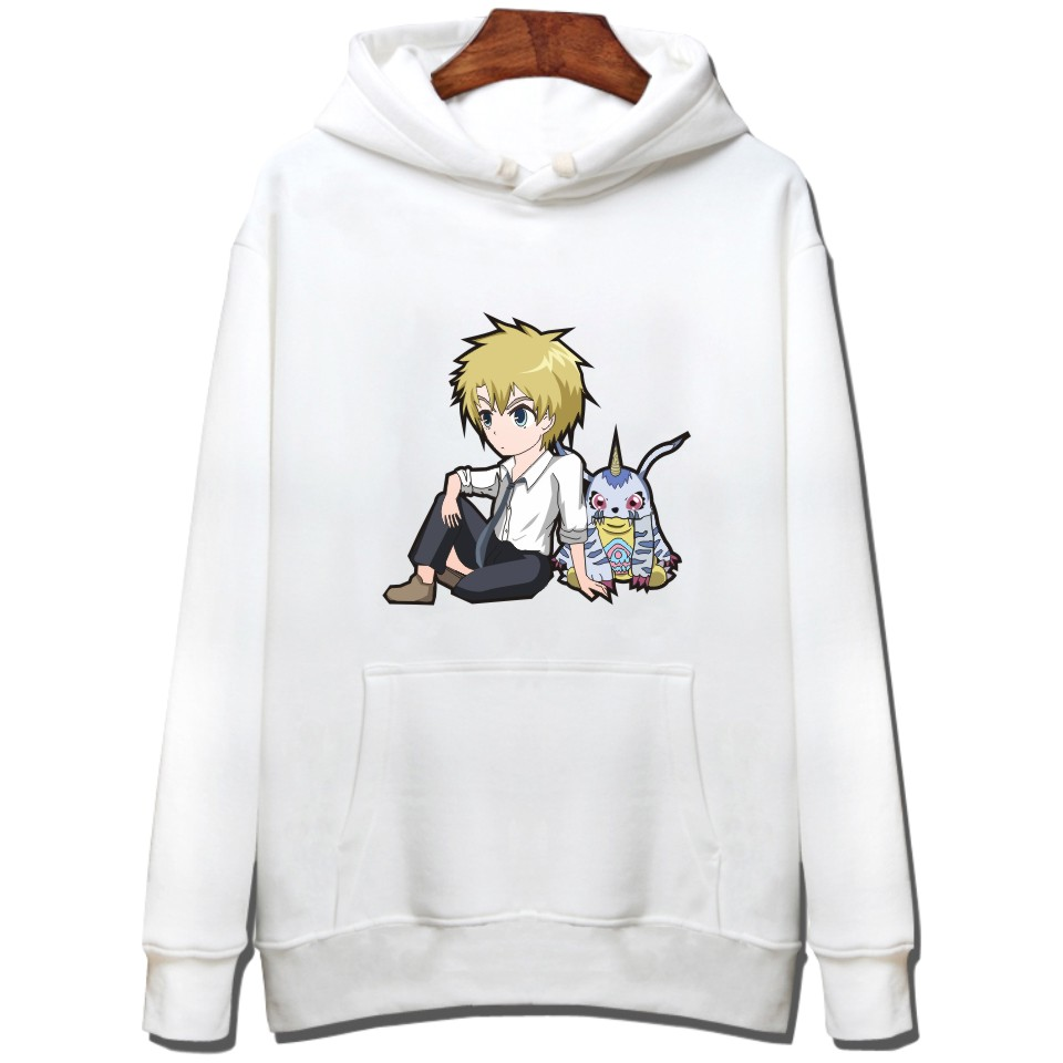 Printed Cartoon Digimon Adventure Funny Game Hoodies Japanese Anime Agumon Classic Fashion Sweatshirts Cotton White Clothes image