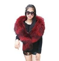 Большой Размеры Роскошные мех енота пашмины Для женщин зимние модные теплые натуральным мехом шали шарф Обёрточная бумага енота меховой во