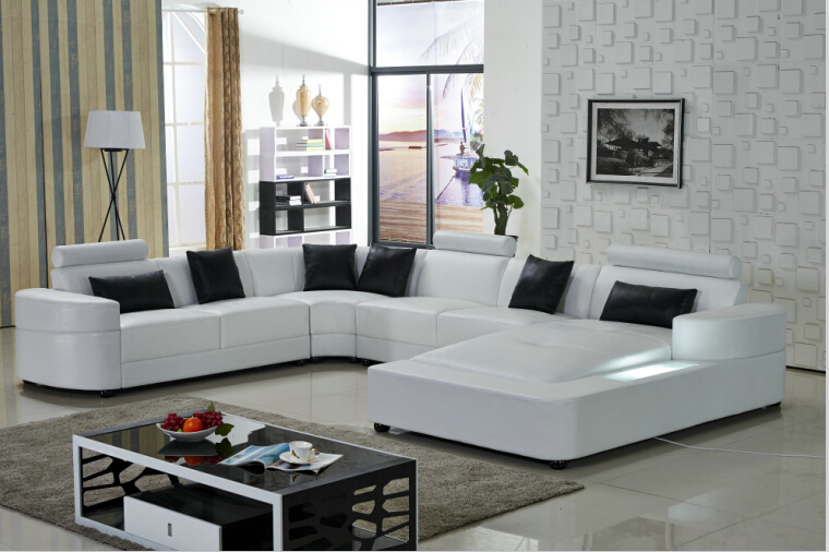 Wohnzimmer Sofa ifuns brillancy orange genuine leather corner sofas modern design l