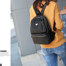 Canvas Women Backpack Fashion Casual Triangle Metal Mini Travel Backpacks Bag for women 2019 Mochila Black