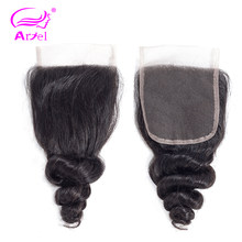 Ariel Brazilian Human Hair Loose Wave Lace Closure 1 Piece 4X4 Free/Middle/Three Part Closure 100% Human Hair Non-Remy(China)