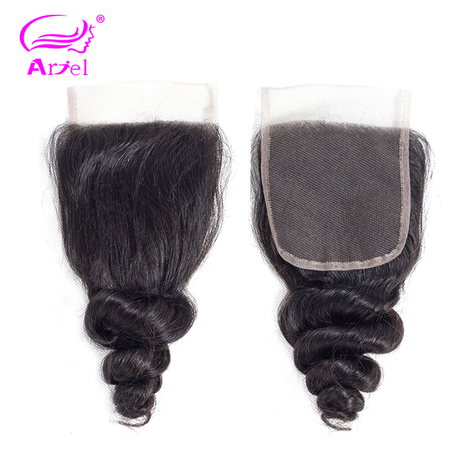 Ariel Brazilian Human Hair Loose Wave Lace Closure 1 Piece 4X4 Free/Middle/Three Part Closure 100% Human Hair Non-Remy
