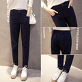 J2FE220#8178 2016 New Female Trousers Women Fashion Casual Cotton Pants Solid Color Loose Straight