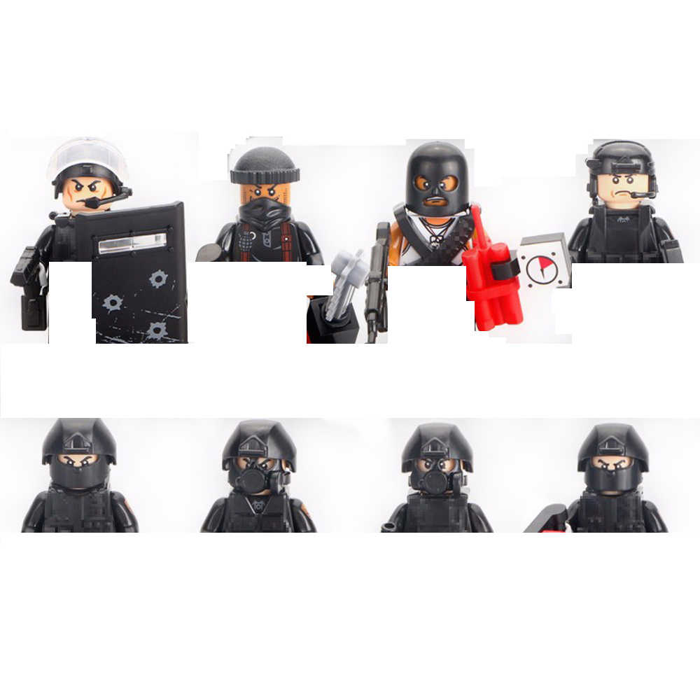 hot military SWAT city super police Building Blocks mini Counter-strike Falcon figures model weapons guns bricks toys for gifts