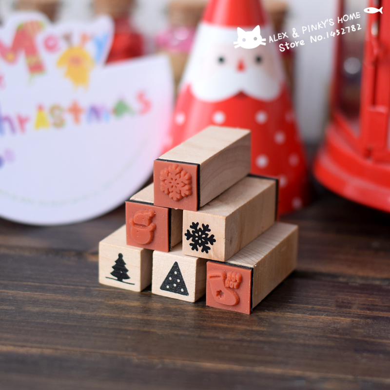 цены  Christmas Decoration Wood Stamp Handmade DIY Ink Pad Rubber Stamp Set Wooden Stamps for Scrapbooking Decoration tinta sellos