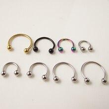 2pcs  Free Shipping 1.2mm 16G Ball Circulars Horseshoes Titanium Ball Horseshoe Nose Ring  Piercing Body Jewelry