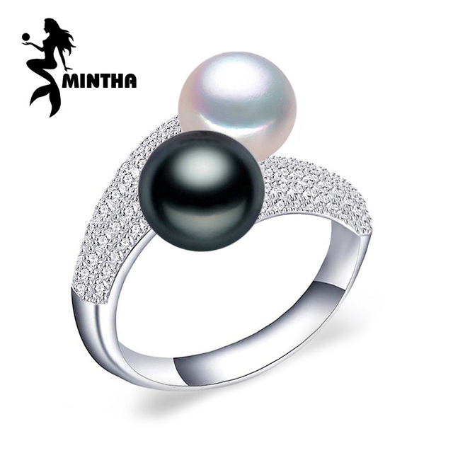 f7e8c3220 MINTHA Pearl Jewelry,double Pearl rings,Natural Freshwater Pearl rings,925  Silver rings for women charms silver 925 original