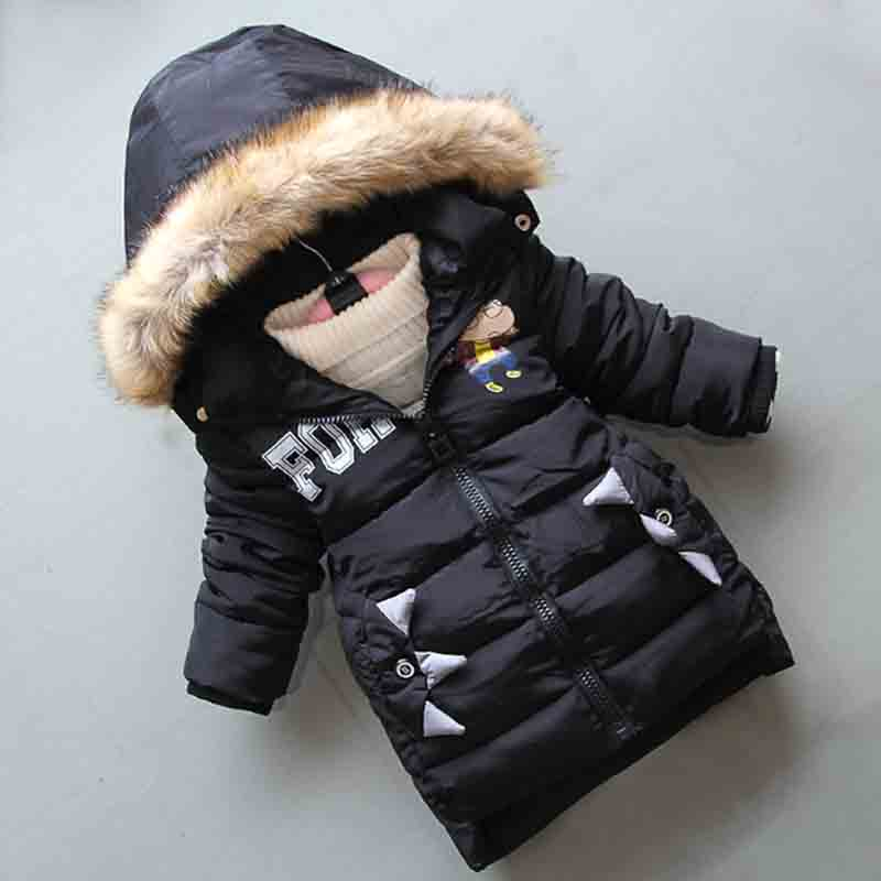 BibiCola winter children boys down cotton jackets new boys thick warm hooded snow outerwear kids snow jacket fit for 3 7Y boy