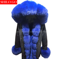 Plus size new winter army green jacket women outwear thick parkas natural real fox fur collar blue rabbit coat hooded pelliccia