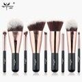 Anmor 9 unids sistema de cepillo del maquillaje del cepillo del maquillaje sintético incluyendo polvos sombra de ojos cepillos