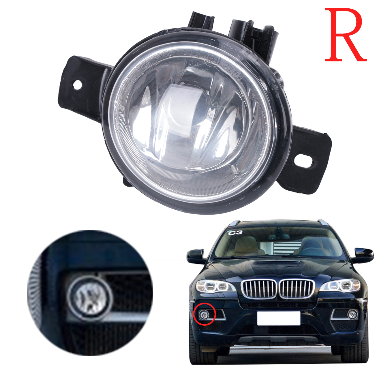 Right Side Car Front Bumper Fog Light Foglamp For BMW E71 E72 X6 2008 2009 2010 2011 2012 2013 Part Number 63177187630 #W090-R for vw golf 6 gti 2009 2010 2011 jetta 6 gli 2011 2012 2013 2014 new front right halogen new fog lamp fog light car styling