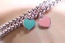 TT TAB009 925 pulseras de plata esterlina, pulseras del encanto brazalete de tenis con T placa con la caja de Color Rosa, azul corazón pulsera