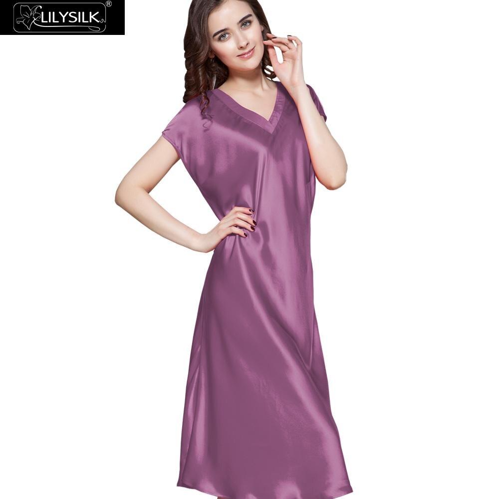 2bb6836fdb LilySilk Nightgown Women Sleepwear Night Dress Pure 100 Silk Ladies Pure  V-Neck Short Sleeve 22 momme Mid-Calf Free Shipping