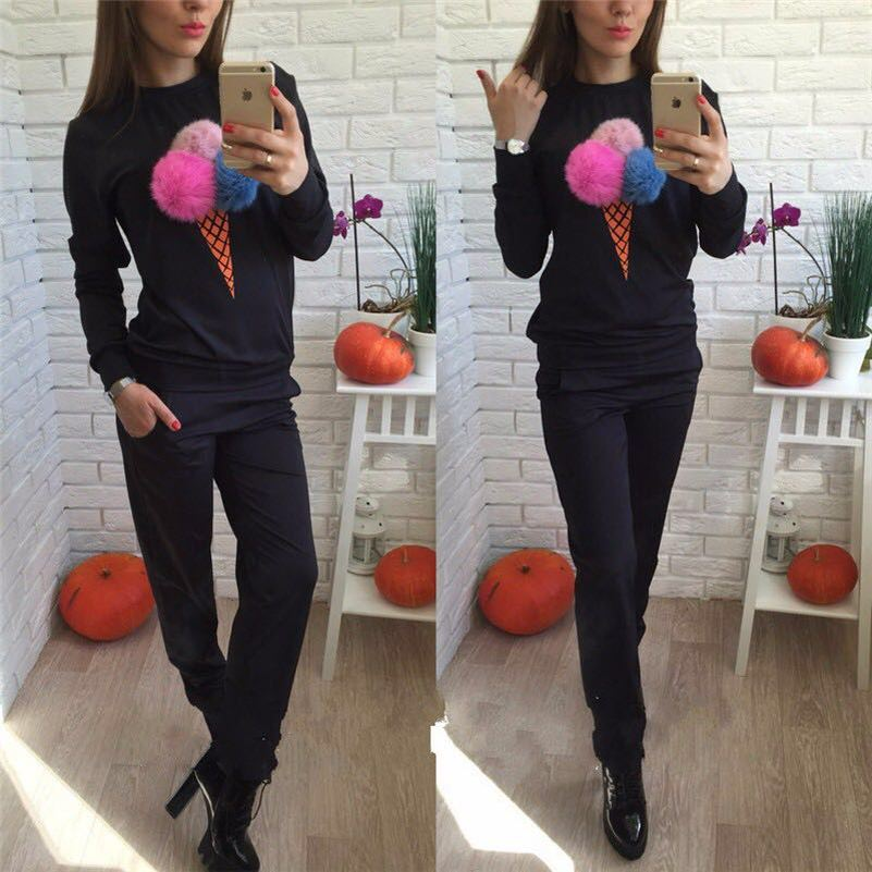 Ice Cream Cute Kawaii Suit Set 2020 Women Tracksuit Two-piece Sport Style Outfit Jogging Sweatshirt Fitness Lounge Sportwear